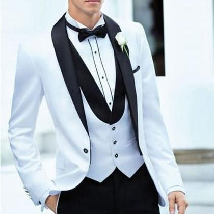 Notch Lapel White Men's Wedding Sui..