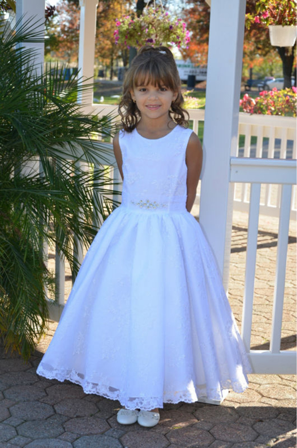 Ankle Length Lace Girl Birthday Wedding Party Formal Flower Girls Dress baby Pageant dresses 346