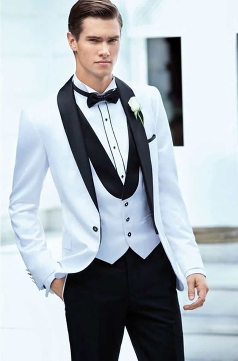 Notch Lapel White Men's Wedding Suits Groom Tuxedos Groomsmen Best Man Suits (Jacket+Pants+Vest)