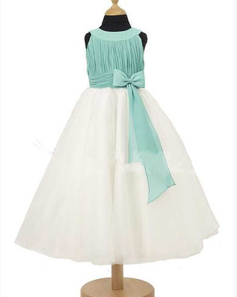 Formal Floor Length Flower Girl Dresses Children Birthday Dress Ruffle Kids Wedding Party Dresses 1103-12