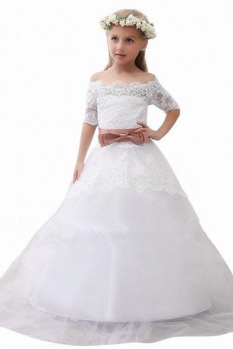 Cap Sleeve Pageant Flower Girl Dresses Children Birthday Dress Lace Ball Gown Tulle Wedding Party Dresses 27