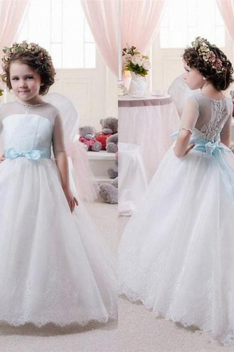 Short Sleeve Sky Blue Formal Flower Girl Dresses Children Birthday Dress Lace Ball Gown Tulle Wedding Party Dresses 29