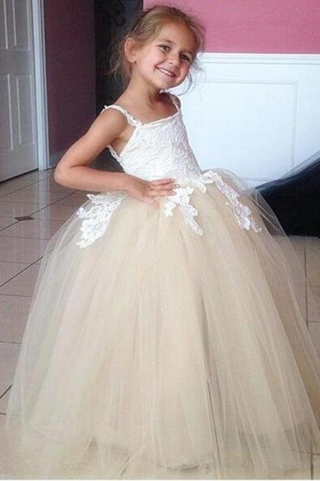 White Lace and Champagne Tulle Princess Gowns Flower Girl Dresses Kids Birthday Dress Wedding Party Dresses 34