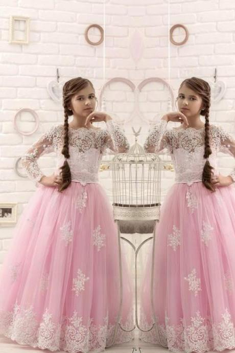 Long Sleeve Pink Tulle Pageant Flower Girl Dresses Kids Birthday Dress Lace Applique Princess Gowns Wedding Party Dresses 35
