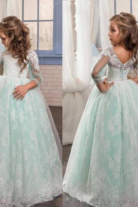 Light Green Princess Gowns Pageant Flower Girl Dresses Kids Birthday Dress Lace Ball Gown Wedding Party Dresses 36