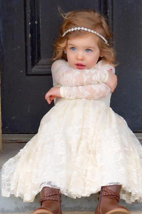 Long Sleeve Cute Pageant Flower Girl Dresses Kids Birthday Dress Lace Wedding Party Dresses 40
