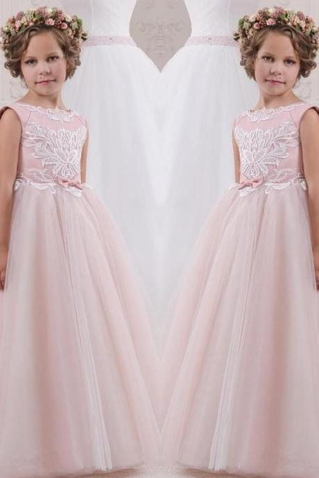 Pink Princess Gowns Kids Pageant Flower Girl Dresses Kids Birthday Dress Lace Ball Gown Tulle Wedding Party Dresses 47