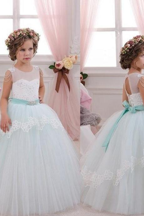 Pageant Flower Girl Dresses Kids Birthday Dress Princess Gowns Ball Gown Tulle Wedding Party Dresses 54