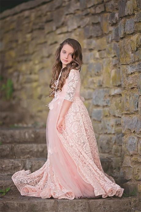 Pink Half Sleeve Cute Pageant Flower Girl Dresses Kids Princess Gowns Birthday Dress Lace Wedding Party Dresses 62