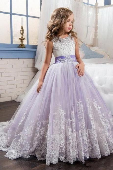 Princess Gowns Wedding Flower Girl Dress Communion Party Prom Princess Pageant Bridesmaid 68