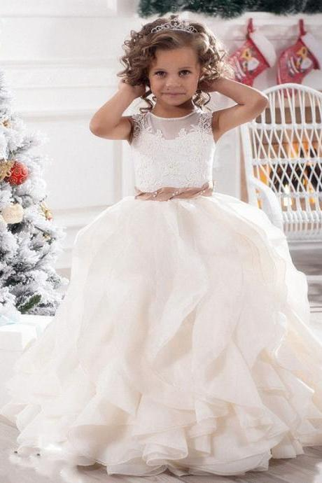 Ruffles Wedding Prom Kids Pageant Baby Princess Flower Girl Dress Party Prom 105
