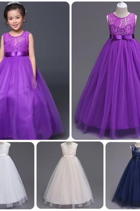 Lace Flower Girl Kid Princess Tulle Dress Pageant Wedding Bridesmaid Formal Gown 107