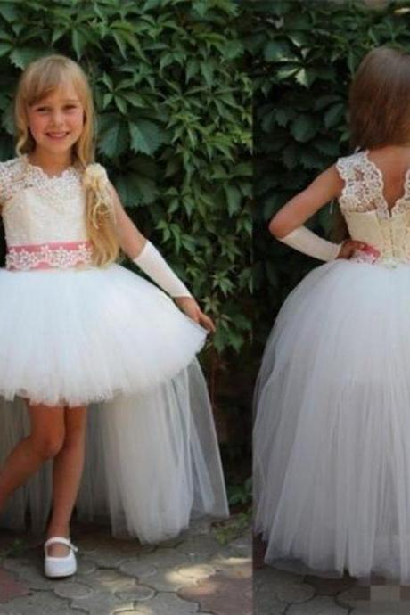 Hi-Lo Princess Gowns Cute Pageant Flower Girl Dresses Kids Birthday Dress Lace Wedding Party Dresses 114
