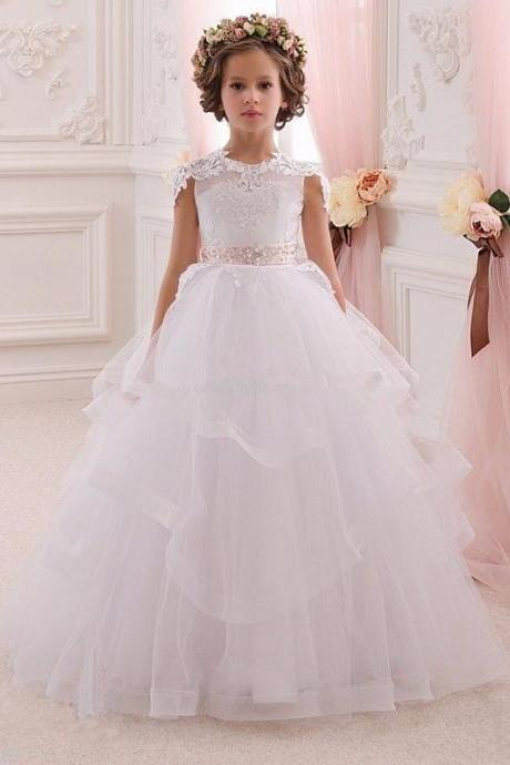 Hot Flower Girl Dresses Floor Length 2017 Girls Ball Gown First Communion Dress 116