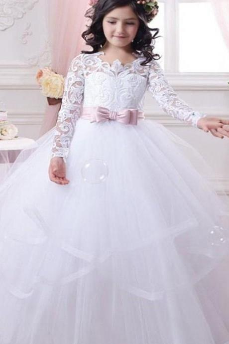 Long Sleeve Pink Sash Cute Pageant Flower Girl Dresses Kids Birthday Dress Lace Wedding Party Dresses 122