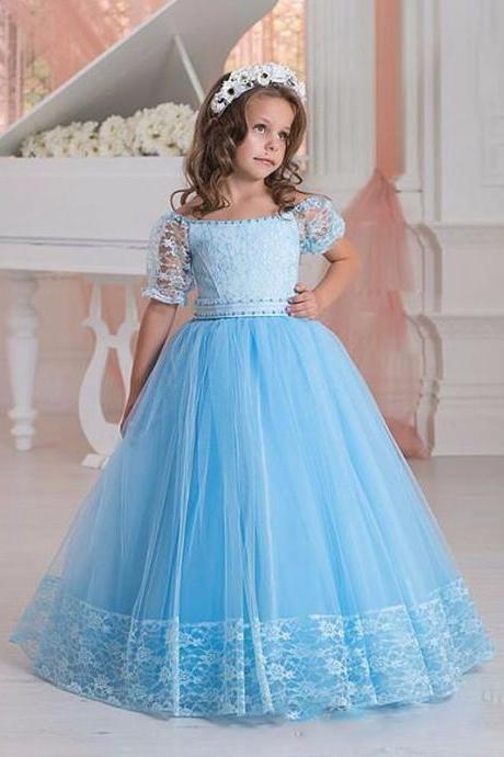 2017 New Girl's Pageant Dresses A line Tulle Lace Short Sleeves Ruffles Beading Crystal For little girl girls Flower Girl Dress 136