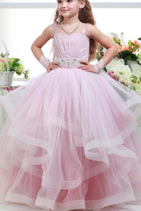 White Pink ball gown, Tulle flower girl gown, Sleeveless ball gown, Cute ball gown, Pageant gown, Princess ball gown, Little girl ball gown, New ball gown, High quality ball gown 143