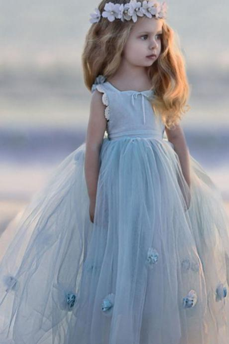 Flower Girl Dress,Cheap Flower Girl Dress,Ball Gown Flower Girl Dress,Kids Birthday Party Dress,Girl's Party Dress,Lovely Flower Girl Dress,Handmade Flower Girl Dress,Long Flower Girl Dress 153