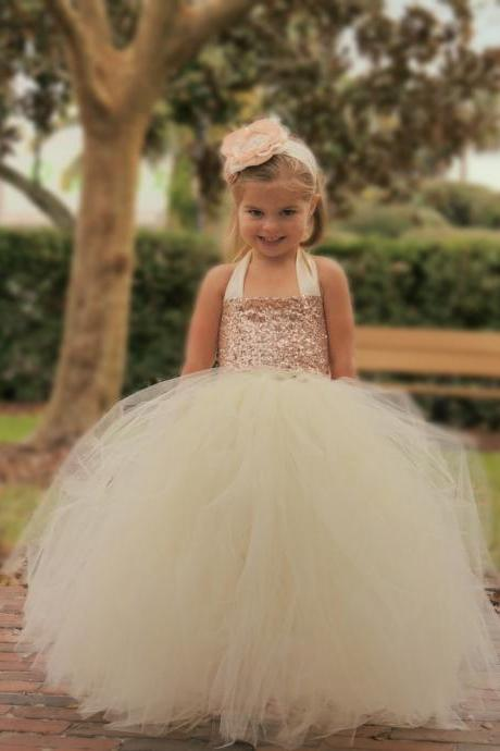 Princess Gowns Cute Halter Long Flower Girl Dress 161