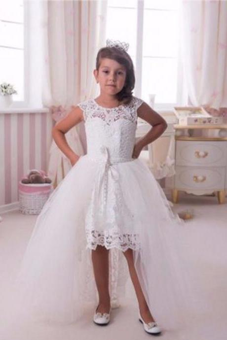 Flower girl dress,High Low flower girl dress,White flower girl dress,girls party dresses, girls christmas dresses, 2017 flower girl dress, girls first communion dress, junior bridesmaid dress,girls wedding party dress,girls 181