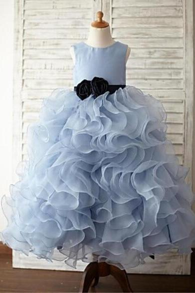 Ruffle Light Blue Princess Gowns Girl Birthday Wedding Party Formal Flower Girls Dress baby Pageant dresses 193