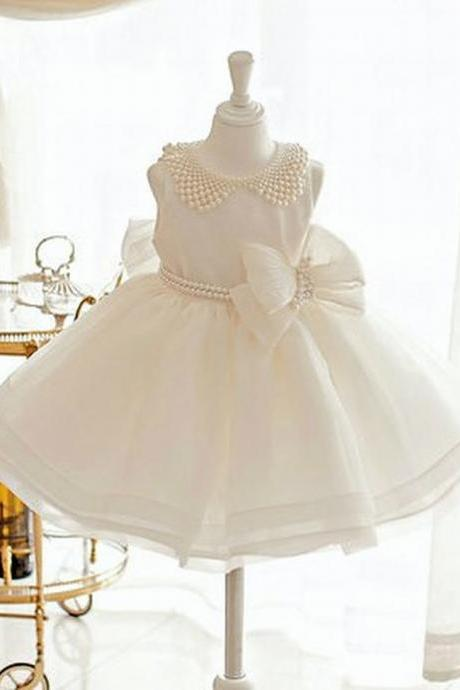 Peal Baby Girl Birthday Wedding Party Formal Flower Girls Dress baby Pageant dresses 205