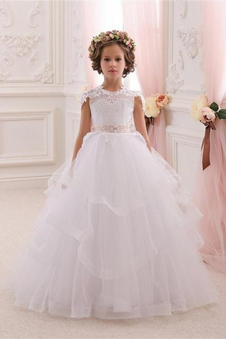 Applique Baby Girl Birthday Wedding Party Formal Flower Girls Dress baby Pageant dresses 230