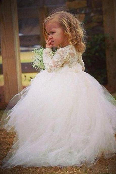 Long Sleeve Princess Gown Baby Girl Birthday Wedding Party Formal Flower Girls Dress baby Pageant dresses 250