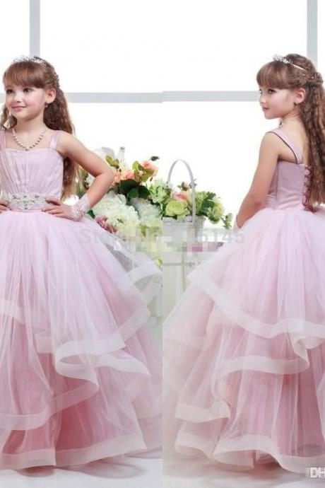 Ruffle Tulle Baby Girl Birthday Wedding Party Formal Flower Girls Dress baby Pageant dresses 255