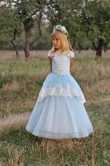 White Lace Baby Girl Birthday Wedding Party Formal Flower Girls Dress baby Pageant dresses 267