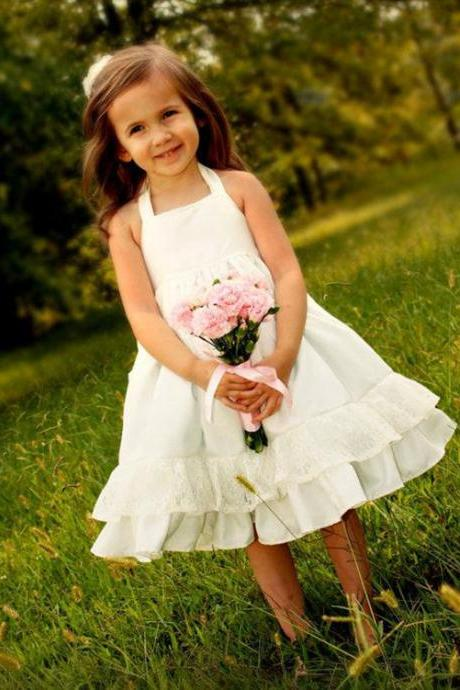 Ruffle Lace Baby Girl Birthday Wedding Party Formal Flower Girls Dress baby Pageant dresses 269
