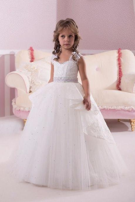 Princess Gown Beading Lace Girl Birthday Wedding Party Formal Flower Girls Dress baby Pageant dresses 296