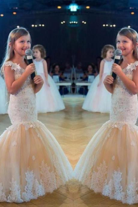 Lace Mermaid Girl Birthday Wedding Party Formal Flower Girls Dress baby Pageant dresses 317
