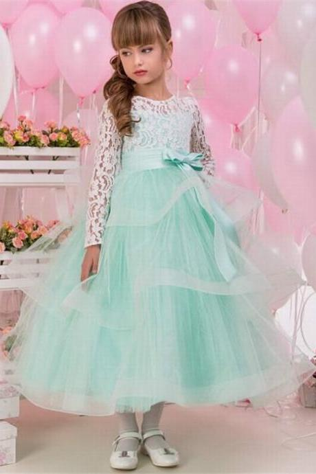 Long Sleeve Green Tulle Girl Birthday Wedding Party Formal Flower Girls Dress baby Pageant dresses 321