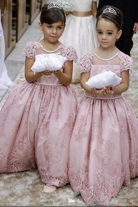 Pink Lace Princess Gown Girl Birthday Wedding Party Formal Flower Girls Dress baby Pageant dresses 330