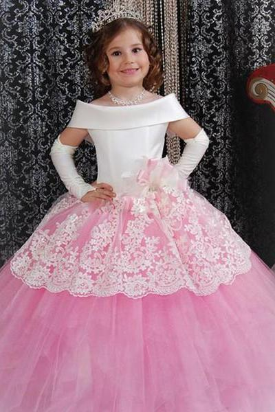 Tulle lace Girl Birthday Wedding Party Formal Flower Girls Dress baby Pageant dresses 341