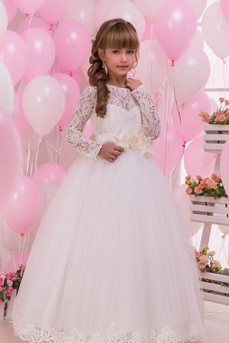 Long Sleeve Lace Girl Birthday Wedding Party Formal Flower Girls Dress baby Pageant dresses 344
