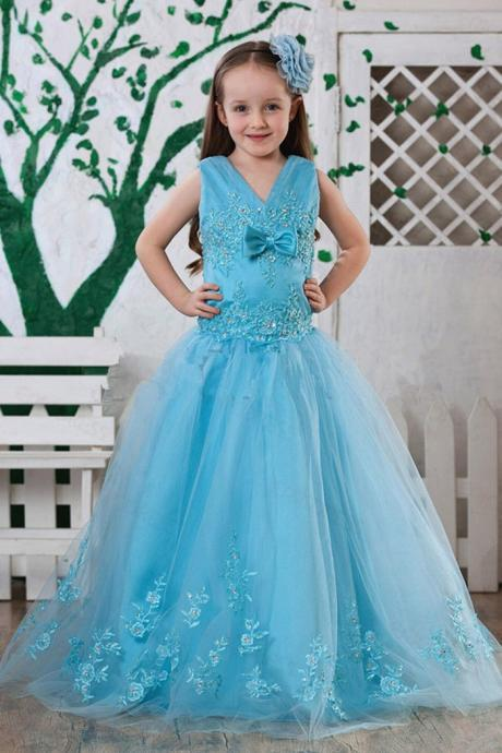 Lace V Neck Girl Birthday Wedding Party Formal Flower Girls Dress baby Pageant dresses 360