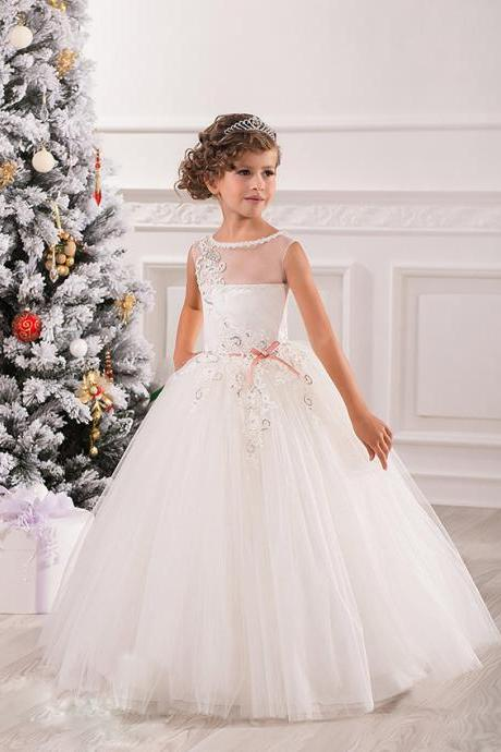 Lace Fashion Girl Birthday Wedding Party Formal Flower Girls Dress baby Pageant dresses 362