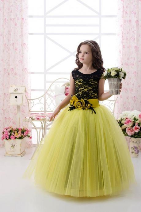 Black Lace Yellow Tulle Girl Birthday Wedding Party Formal Flower Girls Dress baby Pageant dresses 368