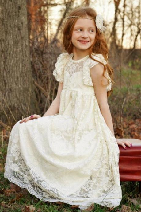 A Line Lace Girl Birthday Wedding Party Formal Flower Girls Dress baby Pageant dresses 379