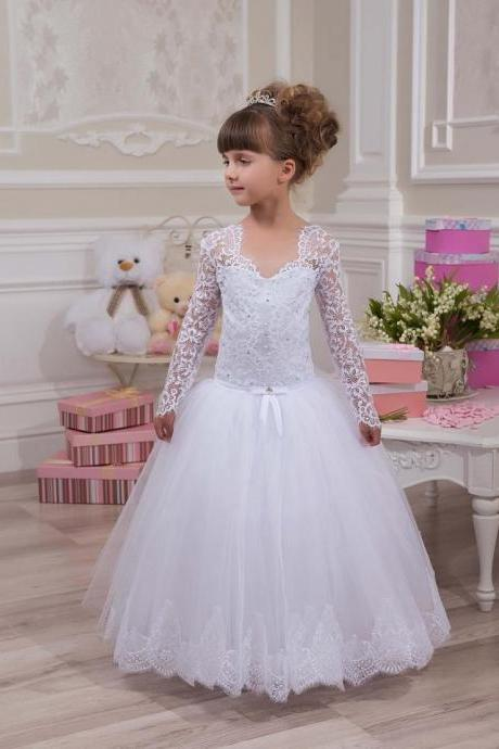 Long Sleeve Lace Cute Girl Birthday Wedding Party Formal Flower Girls Dress baby Pageant dresses 381