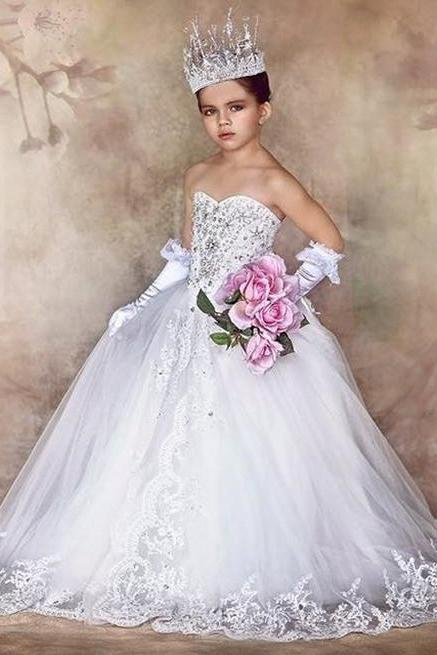 Sweetheart Lace Ball Gown Girl Birthday Wedding Party Formal Flower Girls Dress baby Pageant dresses 387