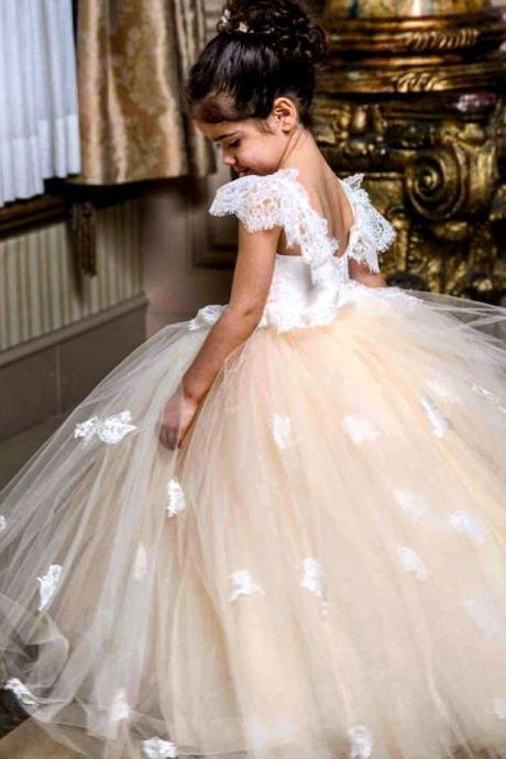 Lace Applique Cute Princess Girl Birthday Wedding Party Formal Flower Girls Dress baby Pageant dresses 395