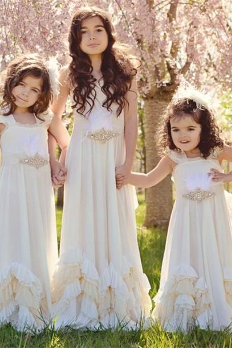Ruffle Simple Girl Birthday Wedding Party Formal Flower Girls Dress baby Pageant dresses 397