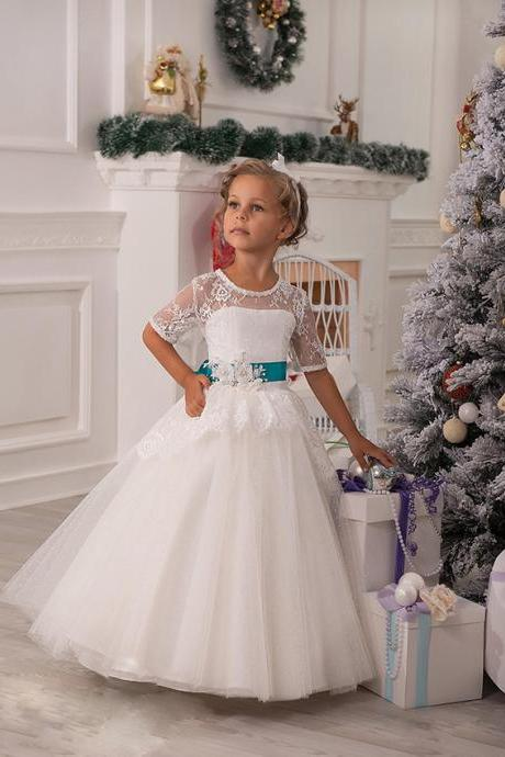 Half Sleeve Lace Girl Birthday Wedding Party Formal Flower Girls Dress baby Pageant dresses 402