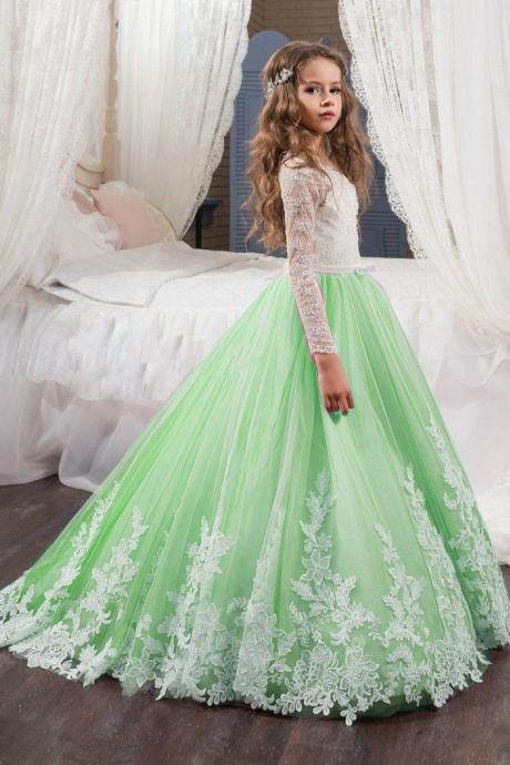 Long Sleeve Light Green Tulle Girl Birthday Wedding Party Formal Flower Girls Dress baby Pageant dresses 435
