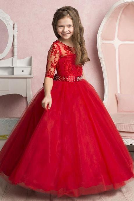 Red Half Sleeve Princess Girl Birthday Wedding Party Formal Flower Girls Dress baby Pageant dresses 437