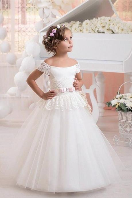 New Fashion Scoop Neck Lace Flower Girl Dresses Pageant Party Dresses Children's First Communion Dresses 438