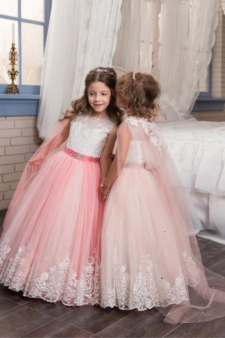 Long Lace Girl Birthday Wedding Party Formal Flower Girls Dress baby Pageant dresses 439